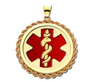 14k Yellow Gold Medical ID Round Rope Frame Charm or Pendant with Red Enamel