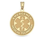 14K Gold Round  Emergency Medical Technician  Pendant