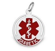 14k White Gold Diabetic Round Charm or Pendant with Red Enamel