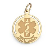 14k Yellow Gold Diabetic Round Charm or Pendant
