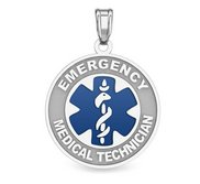 14k White Gold EMT Charm or Pendant with Blue Enamel