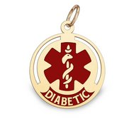 14k Yellow Gold Diabetic Round Charm or Pendant with Red Enamel