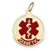 14K Gold Round Medical  Diabetic  Charm W  Red Enamel