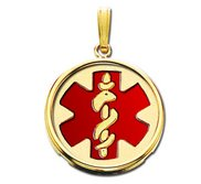 14k Yellow Gold Medical ID Round Bezel Frame Charm or Pendant with Red Enamel