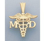 14k Yellow Gold M D  Charm or Pendant