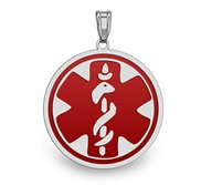 14k White Gold Medical ID Round Charm or Pendant
