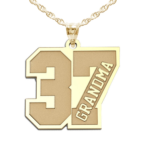 Grandma s Jersey Number Charm or Pendant