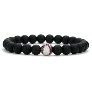 Stainless Steel Personalized Baseball Bead Bracelet