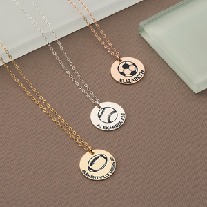 Personalized Sports Disc Charm w  18 inch Chain