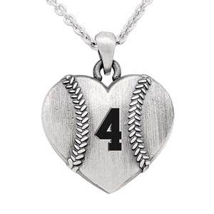 Sterling Silver Heart Shaped Baseball Pendant w  Number   Chain