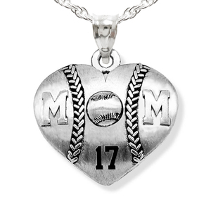 Sterling Silver Heart Shaped Mom Baseball Pendant w  Number   Chain