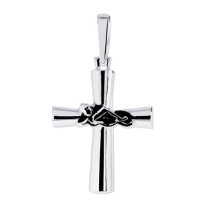 Sterling Silver High Polished Swimmer Cross w  Antique Finish