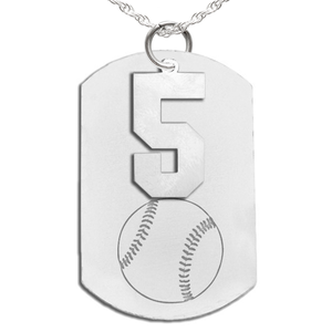 Baseball Dog Tag with Number Pendant Swivel