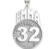 Custom Softball Charm or  Pendant w  Name   Number