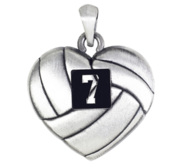 Sterling Silver Heart Shaped Volleyball Pendant w  Number   Chain