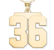 NEW  High Polished Jersey Number Charm or  Pendant with 2 Digits