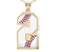 Baseball Color Enameled Single Number Pendant or Charm
