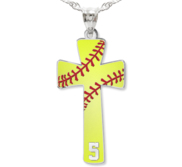 Softball Stitch Enameled Cross Pendant w  Number