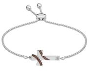 Baseball Stitch Enameled Cross Adjustable Bracelet w  Number