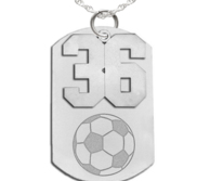 Soccer Dog Tag with Number Pendant Swivel