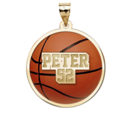 Color Enameled  Basketball Pendant with Name   Number