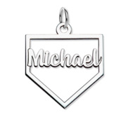 Personalized Baseball Stitch Enameled Number Pendant with Name