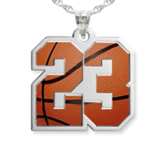 Color Enameled Basketball Number Charm or  Pendant with 2 Digits