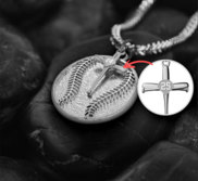 Personalized Round Baseball Pendant with Cross Charm w  Chain Included