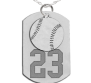 Baseball Dog Tag with Number and Swivel Pendant