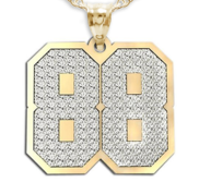 New  Jersey Hammered 2 Digit Number Charm or  Pendant