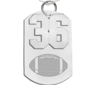 Football Dog Tag with Number Pendant Swivel