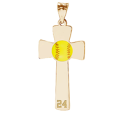 Softball Color Enameled Cross Pendant w  Number