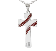 Baseball Stitch Enameled Cross Pendant w  Number