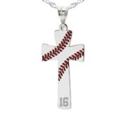 Baseball Stitch Enameled Cross Pendant w  Number