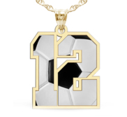Color Enameled Soccer Number Charm or  Pendant with 2 Digits
