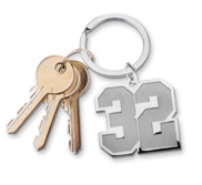 Sterling Silver Number w  Stainless Steel Keychain Loop