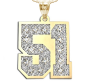 New  Jersey Hammered Two Digit Number Charm or Pendant w  20 Diamonds