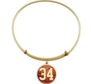 Expandable Bracelet w  Round Basketball Sports Number Charm