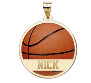 Color Enameled  Basketball Pendant with Name