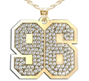New  Jersey Hammered Two Digit Number Pendant Paved with Diamonds