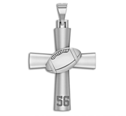 Sterling Silver High Polished Football Cross w  Number