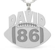 Custom Football Charm or Pendant w  Name   Number