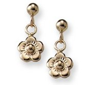 14K Yellow Gold Children s Post Earrings with Dangling Flower