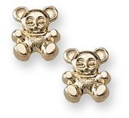 14K Yellow Gold Children s  Teddy Bear  Safety Back Earrings