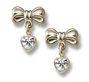 14K Yellow Gold Children s  Bow  CZ Heart Dangle Earrings