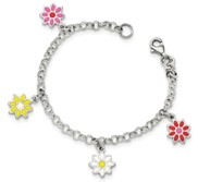 Sterling Silver Childrens Enameled Flower Charm Link Bracelet