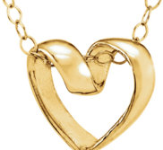 14K Yellow Ribbon Heart Pendant w  15  Necklace