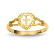 14K Diamond Cut Children s Heart and Cross Ring