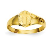 14k Yellow Gold Children s Polished Cross Ring