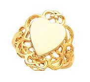 14K Gold Women s Heart Signet Ring with Filigree Design
